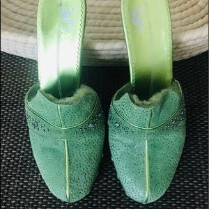G Series mules embellished green